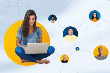 Uma mulher representando uma profissional dos Recursos Humanos trabalha com gestão de pessoas remotamente pelo computador.
